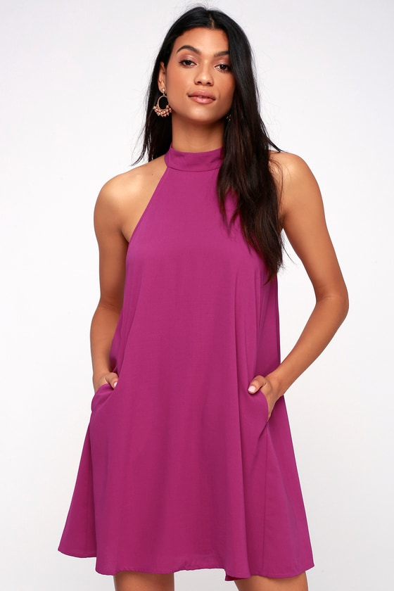 fec717d91705 Chic Magenta Dress - Halter Swing Dress - Sleeveless Dress