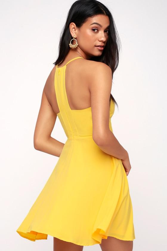 83c737678dda Cute Yellow Dress - Skater Dress - Fit-and-Flare Dress