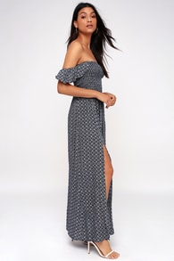 Catch the Sun Navy Blue Print Off-the-Shoulder Maxi Dress f09555b1c381