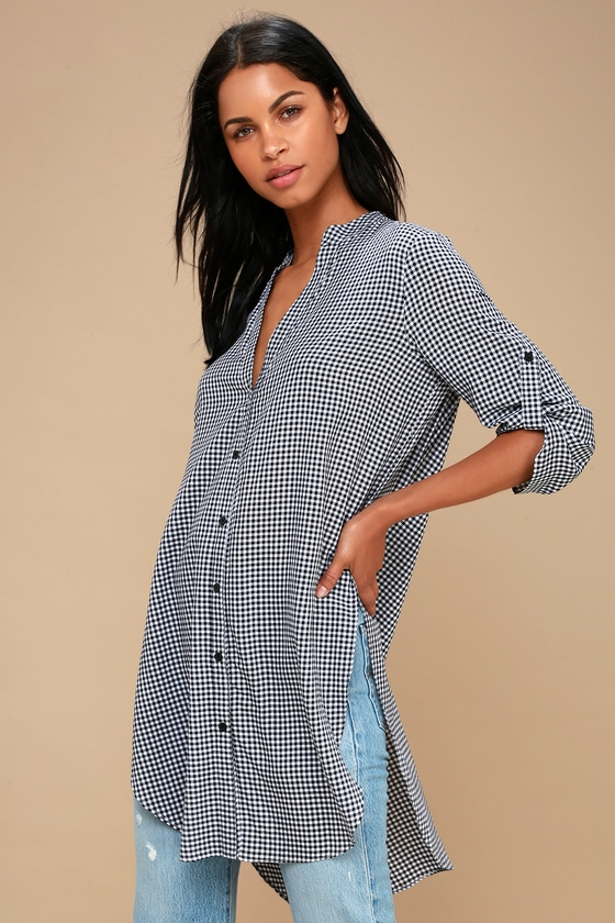 a7ba9ed8900 Chic Tunic Top - Gingham Top - Long Sleeve Top - Plaid Top