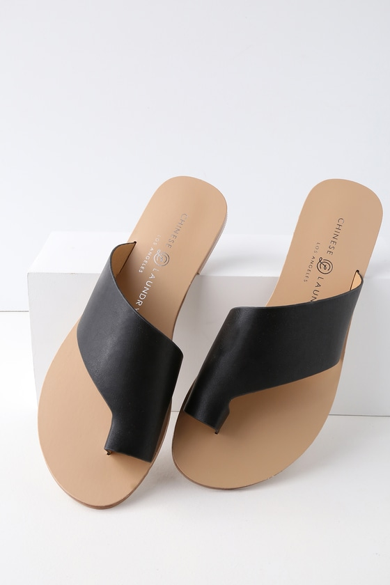 Glory Black Slide Sandals by Chinese Laundry