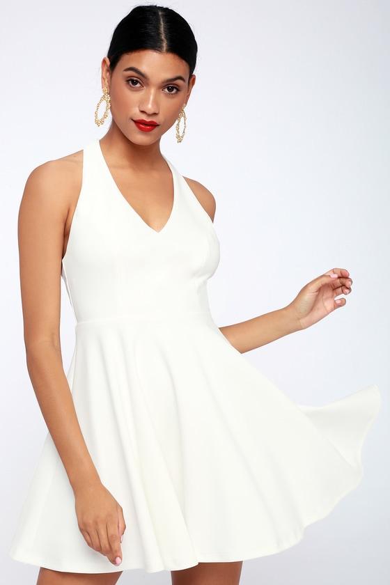 45d94a49a16 Cute White Dress - Skater Dress - White Racerback Dress