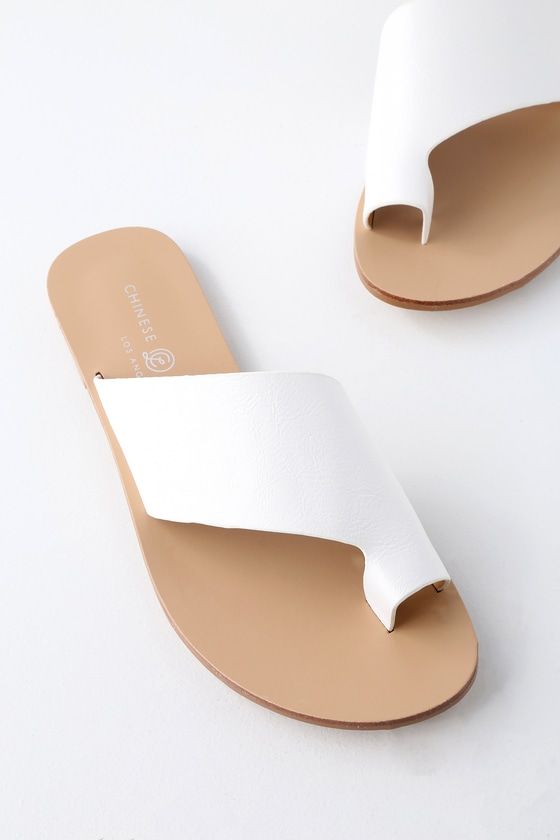 Glory White Slide Sandals by Chinese Laundry