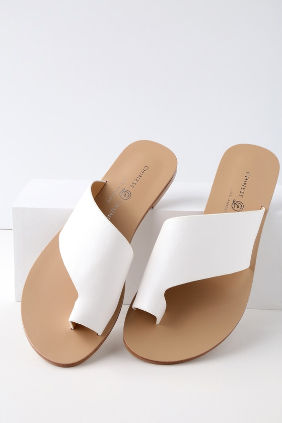 GLORY WHITE SLIDE SANDALS