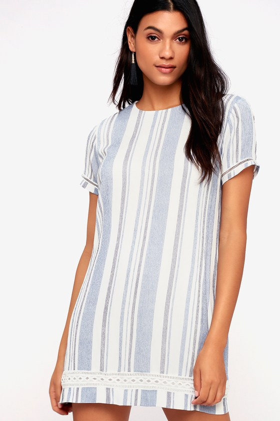 Ardell Blue And White Striped Embroidered Shift Dress by Lulus