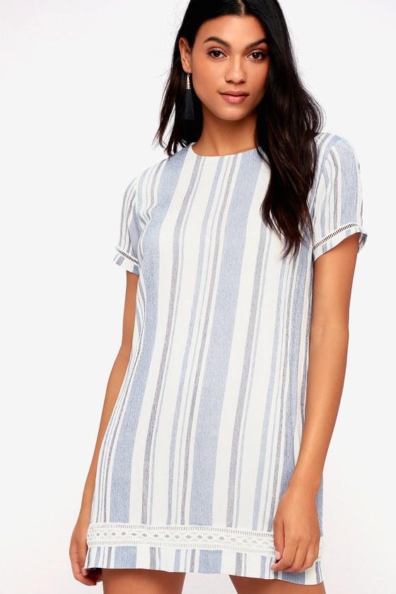 1e94438d061f Cute Blue and White Striped Dress - Short Sleeve Shift Dress