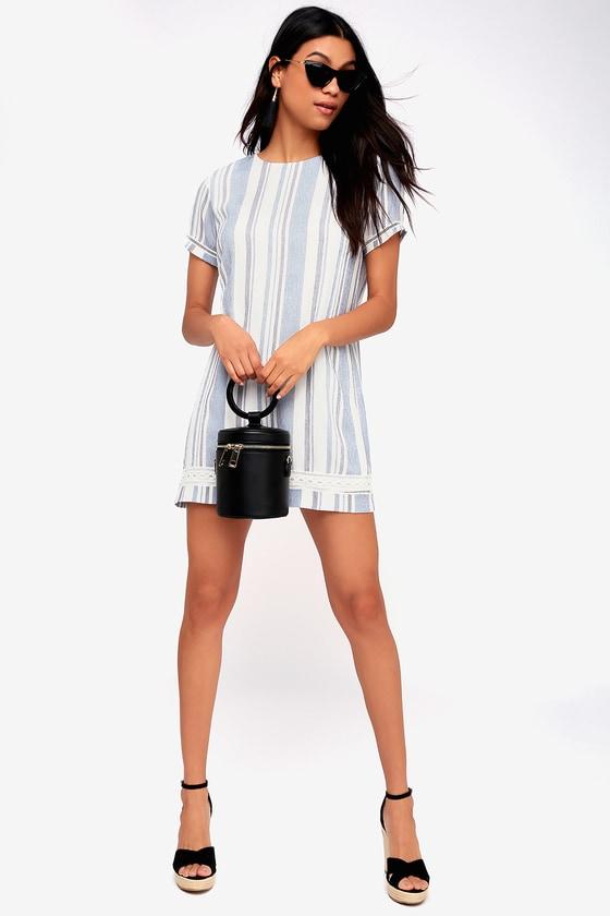 2219c12853357 Cute Blue and White Striped Dress - Short Sleeve Shift Dress