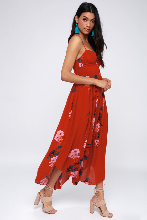 aab01c201161 Free People Beau - Red Floral Dress - Smocked Maxi Dress