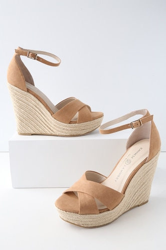 c27267c6616d Chinese Laundry Morgan Camel Suede Espadrille Wedges.  79 · Loveliness Nude  Ankle Strap Heels
