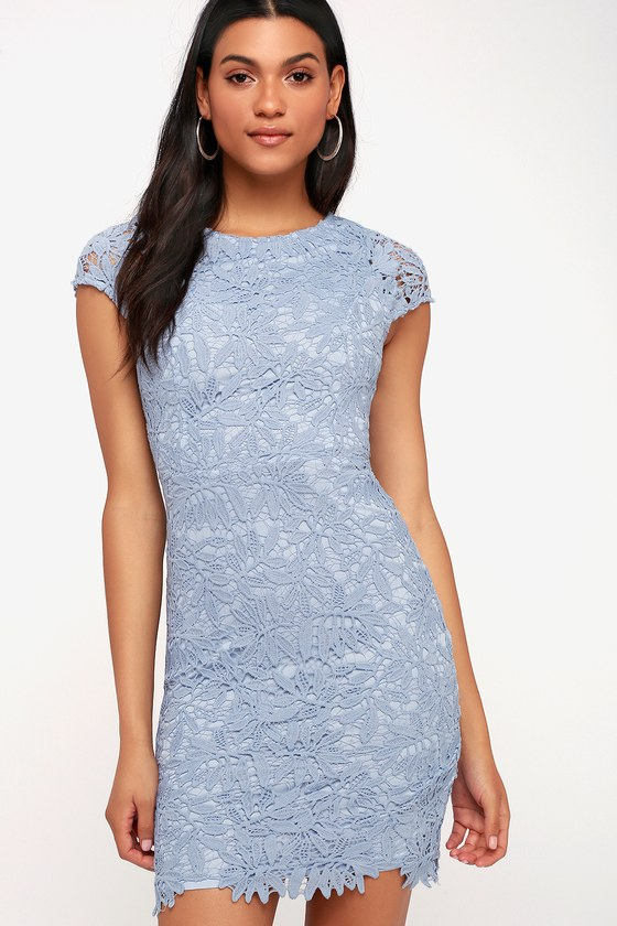 4a0bcc668421 Lovely Periwinkle Blue Dress - Bodycon Dress - Lace Dress