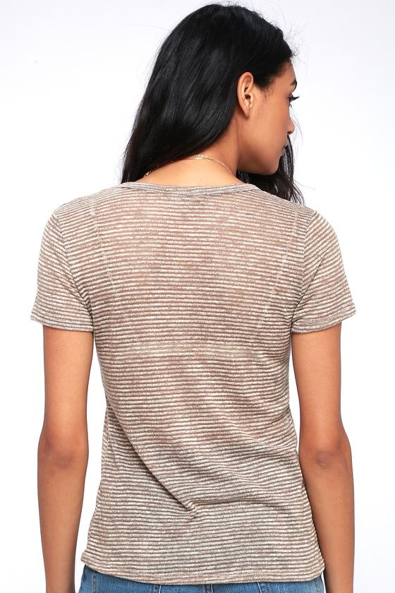 216935367e Cute Striped T-Shirt - Peach Tee - Burnout Tee