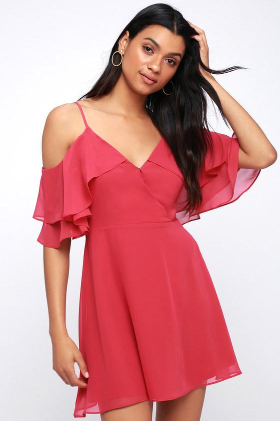 ef9f683d78 Cute Fuchsia Dress - Pink Off-the-Shoulder Skater Dress
