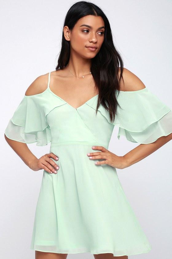 d49cf65a8a55 Cute Mint Green Dress - Mint Off-the-Shoulder Skater Dress
