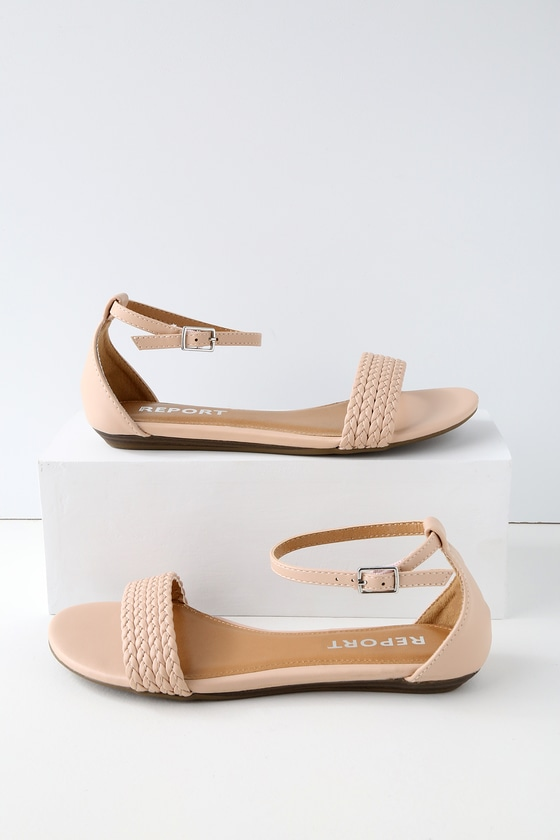 LEILA NUDE ANKLE STRAP SANDALS