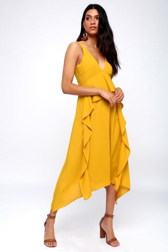 e7d9b6b173 Adelyn Rae Bea - Mustard Yellow Midi Dress - Ruffled Dress
