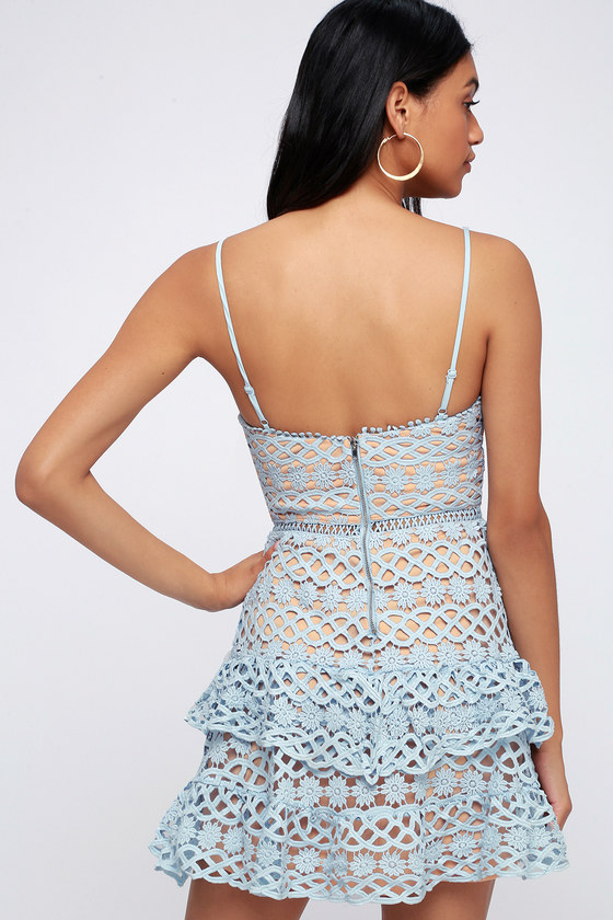 be7f72117359 Cute Light Blue Dress - Crochet Lace Dress - Ruffle Dress