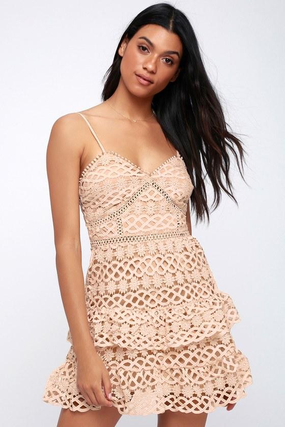 867e1fe2a8a5 Summary -> Cute Pale Blush Dress Crochet Lace Dress Ruffle Dress