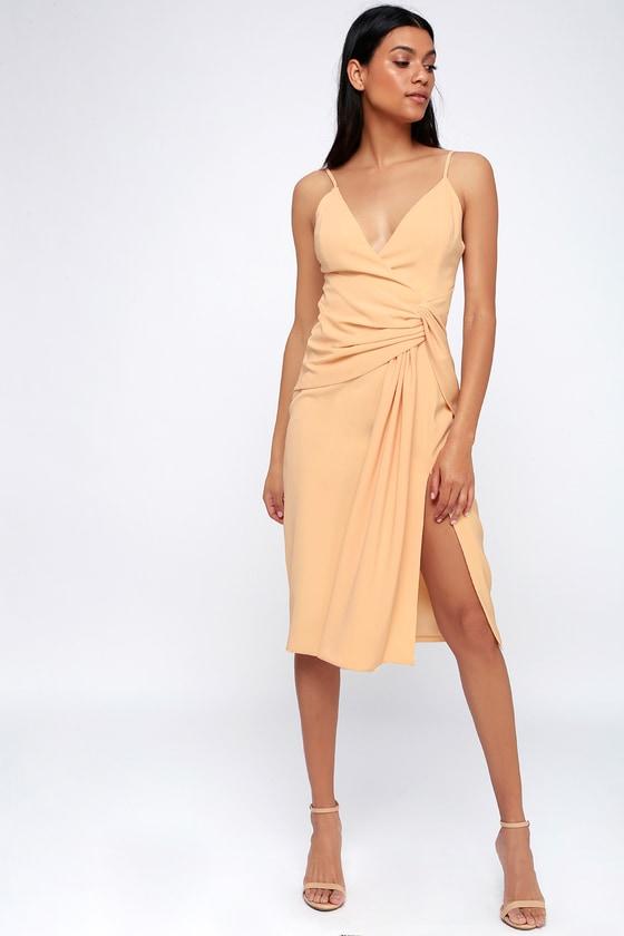 Enlighten Blush Sleeveless Tie-Front Midi Dress