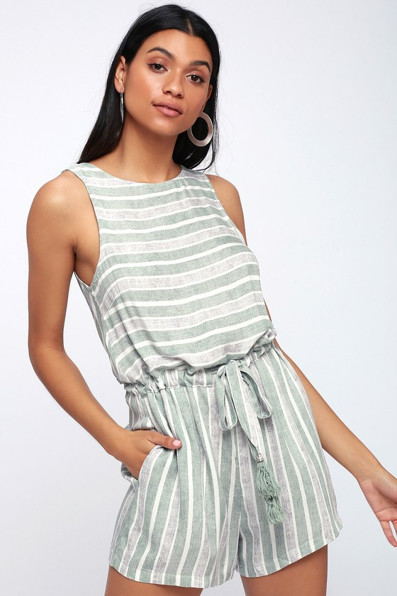 MinkPink PURE SHORES GREEN AND GREY STRIPED ROMPER