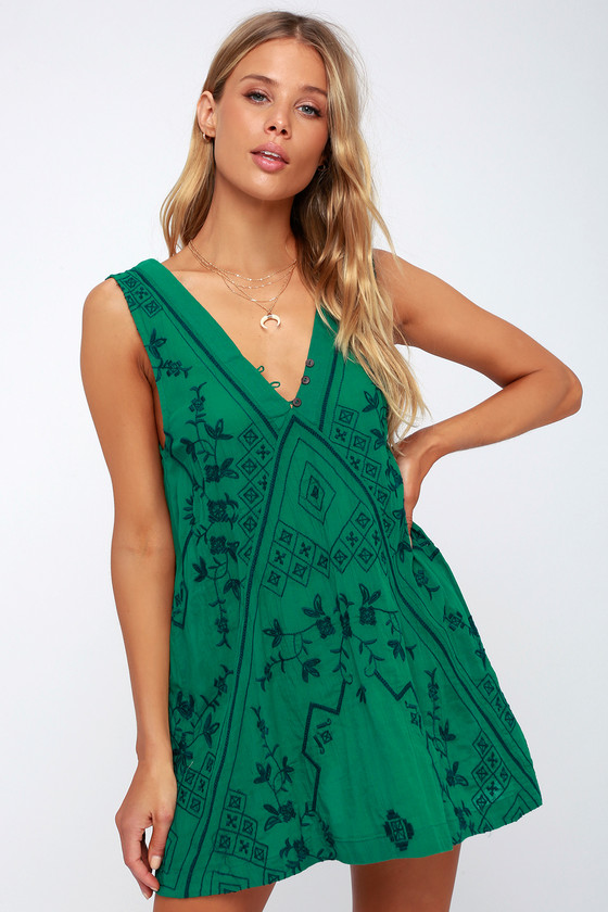Sweetest Shifty Green Embroidered Shift Dress by Free People
