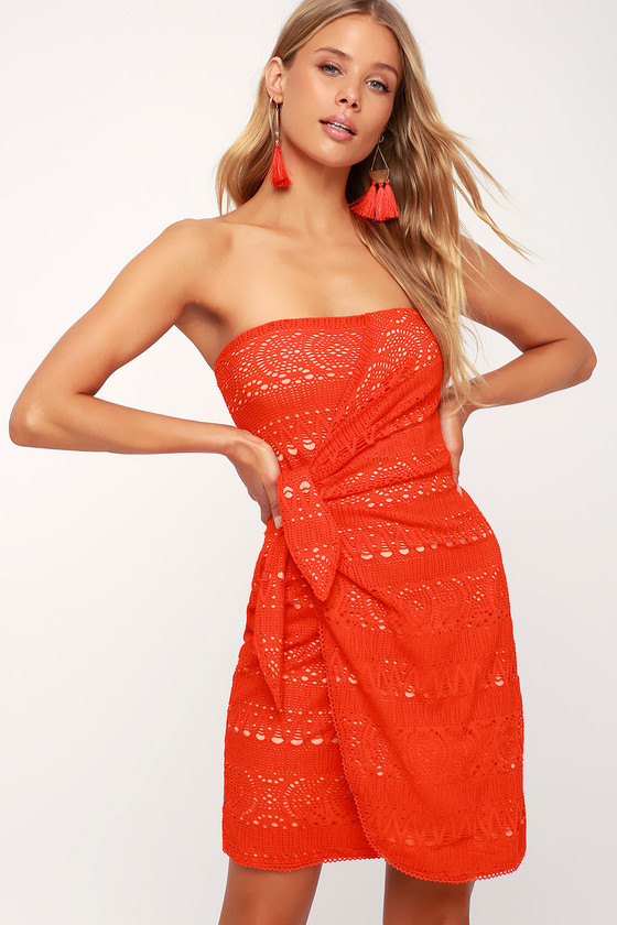 Free People Ocean Side Mini Crochet Dress Red Dress