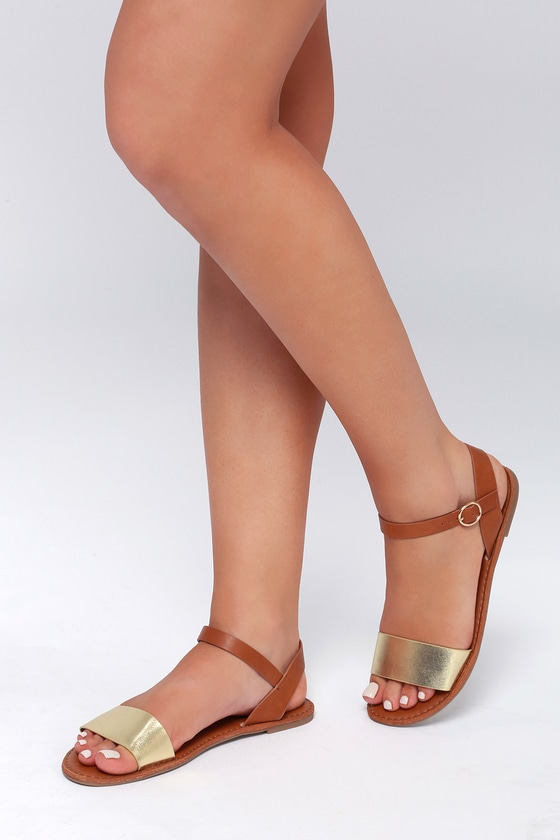 46a2053cb007ea Cute Gold Sandals - Flat Sandals - Ankle Strap Sandals