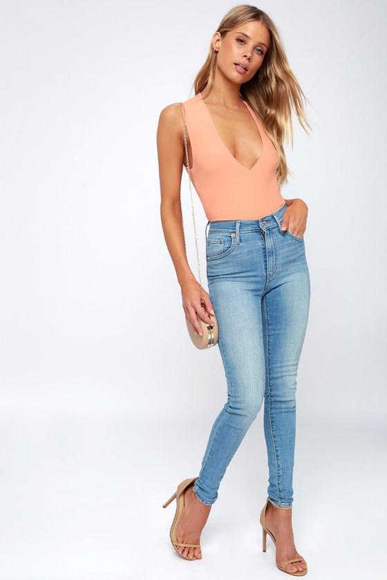Blush Pink Bodysuit - V-Neck Bodysuit - Cross Back Bodysuit 7d5e04fd3