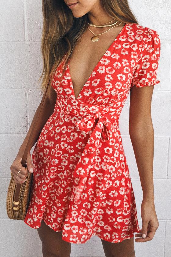 7107d065262 Flirty Red Floral Print Dress - Floral Mini Dress - Sundress
