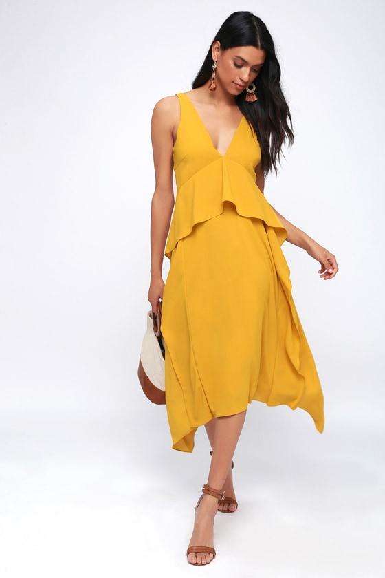 1684c10c5ad0 Adelyn Rae Bea - Mustard Yellow Midi Dress - Ruffled Dress