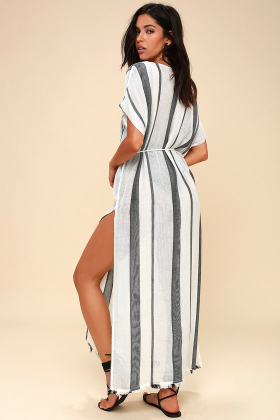 Billabong Wink Once Black And White Striped Cover Up