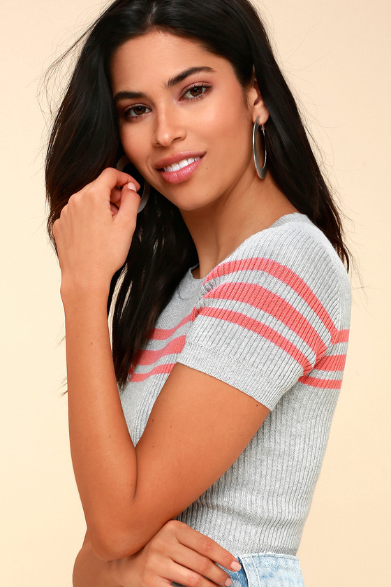 Class Act Grey Striped Ribbed Knit Crop Top by Lulus
