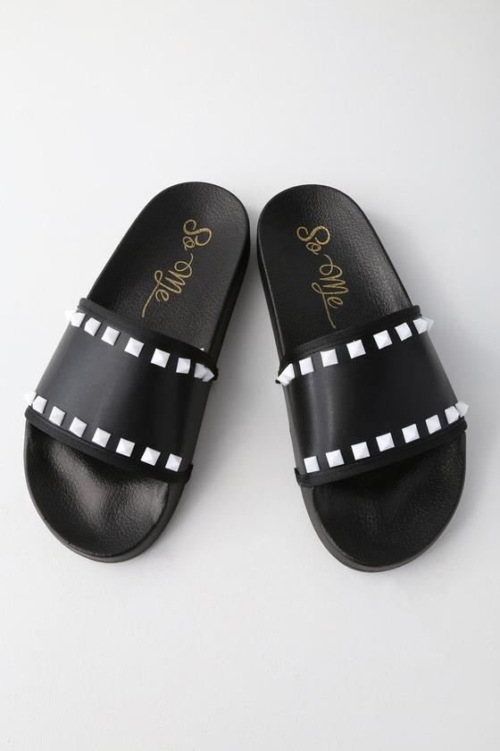 Rebel Black Studded Slide Sandals by Lulu's