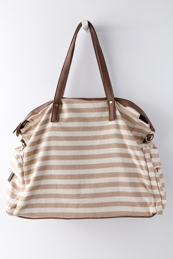 First Class Tan Striped Weekender Bag by Lulus