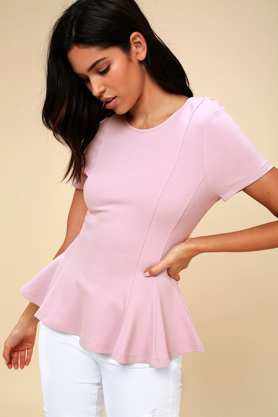 Briana Lavender Short Sleeve Peplum Top by Lulus