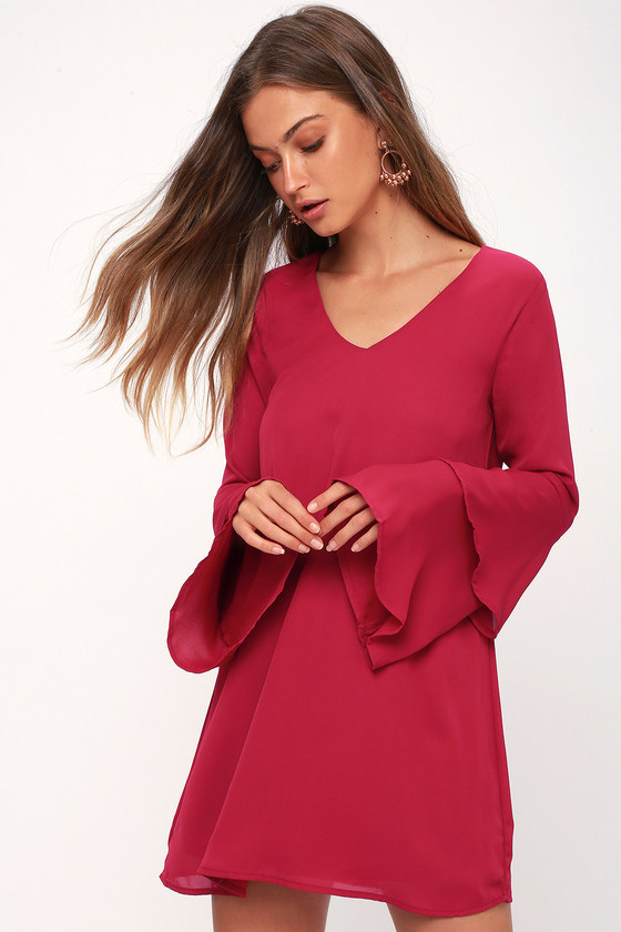 Guest Of Honor Magenta Flounce Sleeve Shift Dress by Lulus