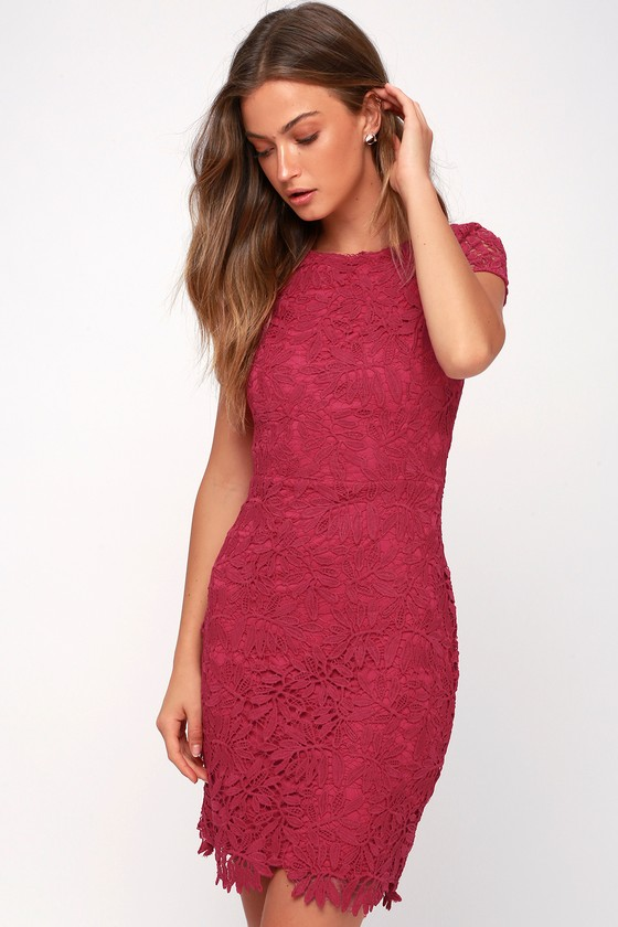 Right Sheer, Right Now Magenta Lace Bodycon Dress - Lulus
