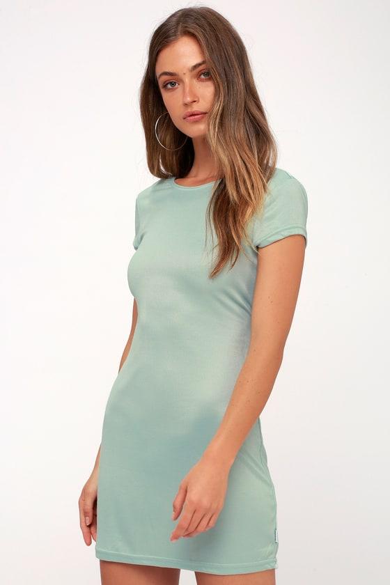 6bdeb503d21 RVCA Wallflower - Mint Backless Dress - Bodycon Shirt Dress