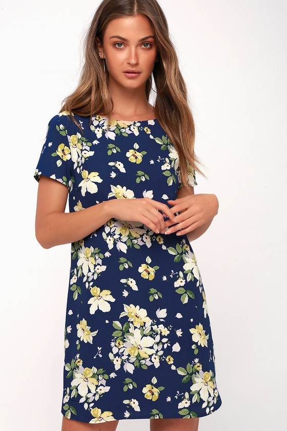 Floriana Navy Blue Floral Print Shift Dress by Lulus