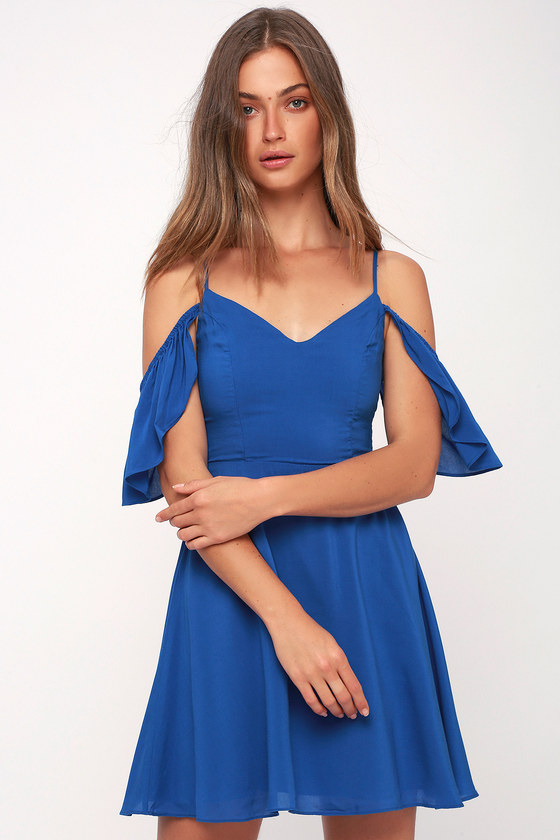 f1cfa571a6d470 Cute Blue Dress - Off-the-Shoulder Dress - Royal Blue Dress