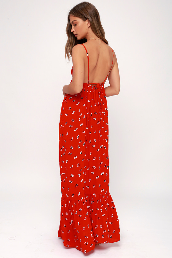 5ccf19a7165a Billabong Flamed Out Maxi - Red Floral Maxi Dress
