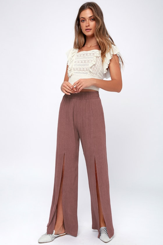 On The Daily Mauve Wide Leg Pants by Lucy Love