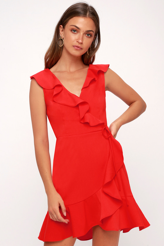 Jennessa Red Ruffled Wrap Dress by J.O.A.