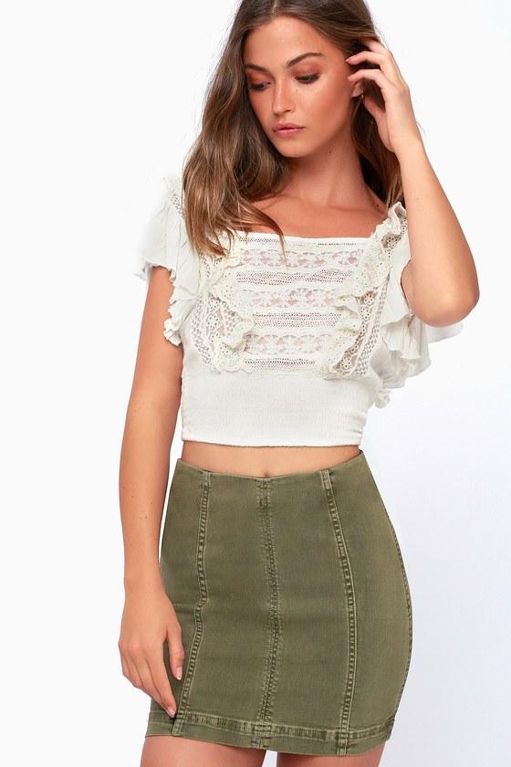 341a17d248ad Free People Modern Femme - Olive Green Denim Mini Skirt
