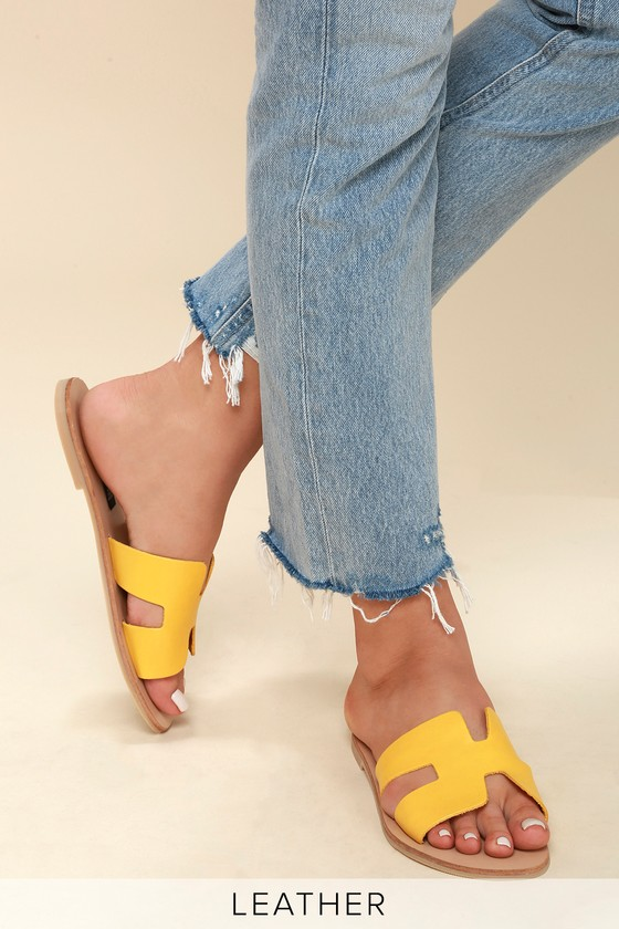 0eb1f8cf189 Steven by Steve Madden Greece - Yellow Leather Slide Sandals