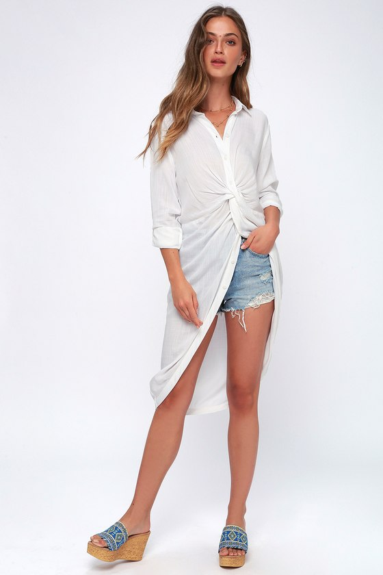 d61a469a8ca3d Cute White Top - Tunic Top - Button-Up Top - High-Low Top