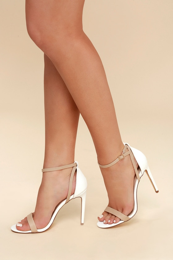 4459ccce0b7 Cute White and Nude Heels - Ankle Strap Heels - Snake Heels