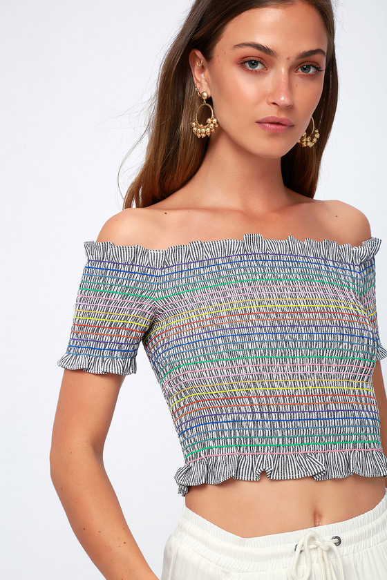 1543190d59df Cute Multi Stripe Off-the-Shoulder Top - Smocked Crop Top