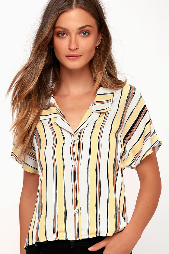 Riptide Yellow Striped Button Up Top by First Monday