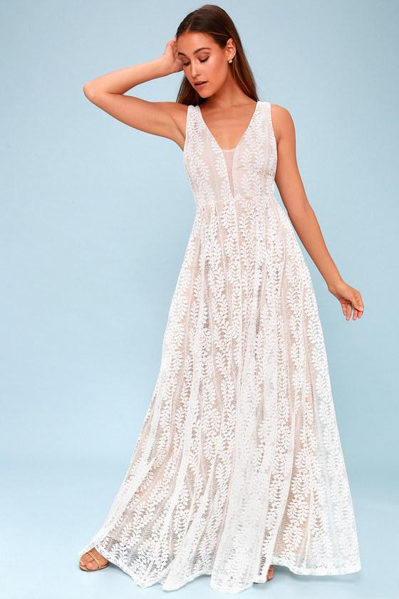 Eliana White Lace Maxi Dress
