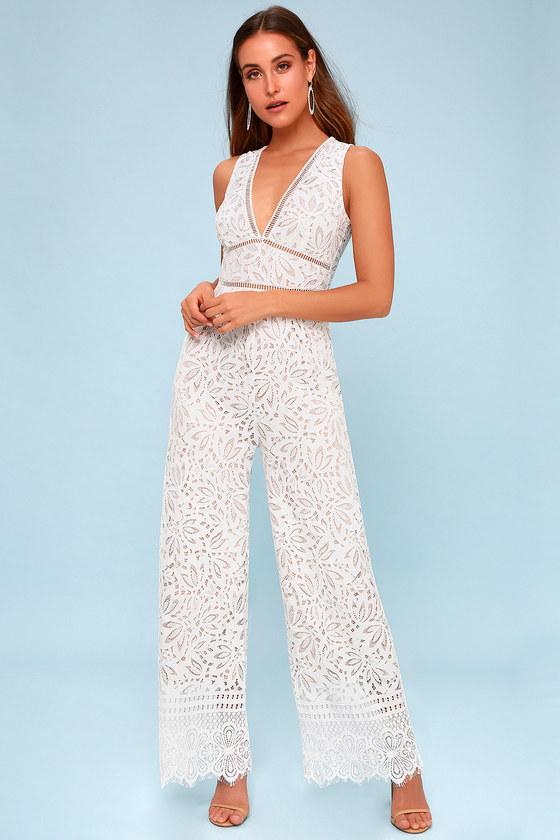 34cbf97ad8 Lovely Lace Jumpsuit - White Jumpsuit - Sleeveless Jumpsuit